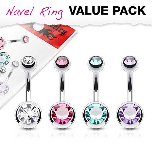 Multi-pack of 4 Assorted Colour Double Gem Belly Bars